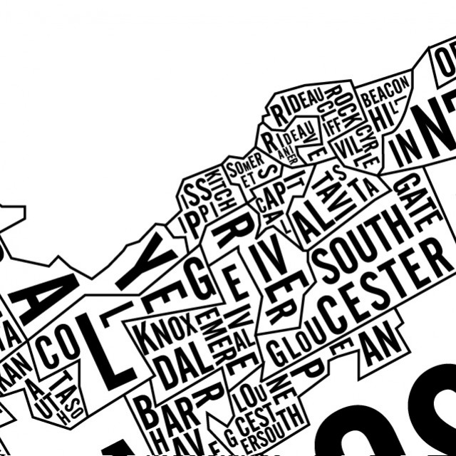 Typographic Map of Ottawa