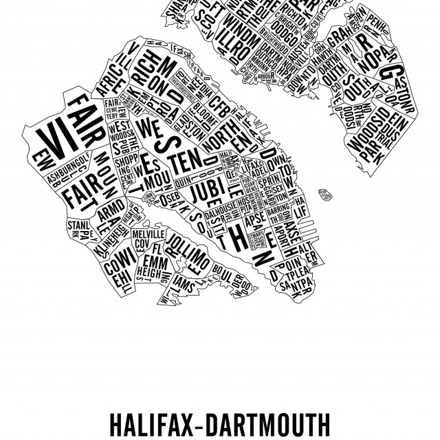 Halifax-Dartmouth Typographic City Map