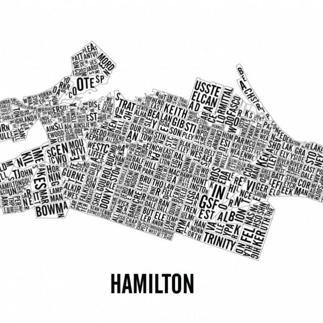 Hamilton Neighbourhoods City Map Poster Ottawa Past Present