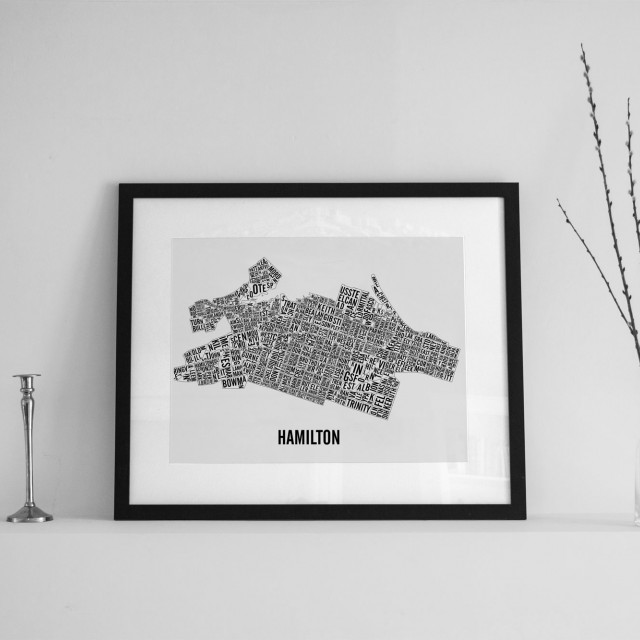 Hamilton Neighbourhoods City Map Poster