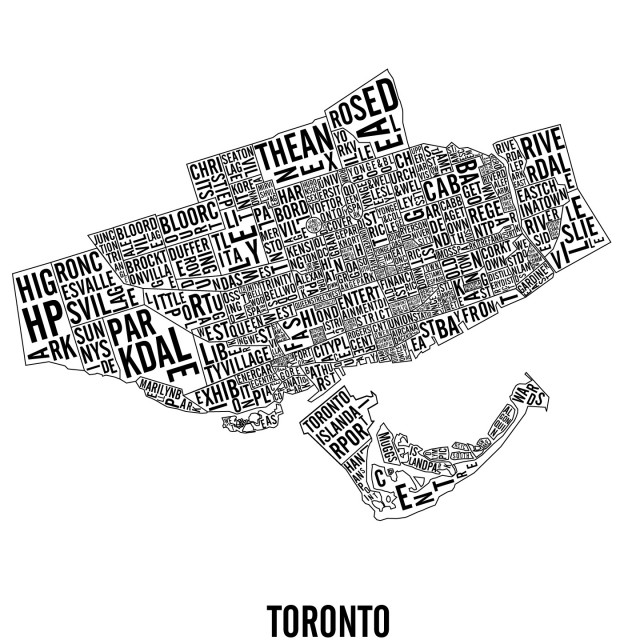 Downtown Toronto Neighbourhoods & Landmarks City Map