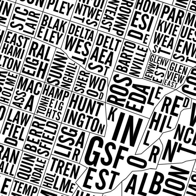 Hamilton Neighbourhoods City Map Poster