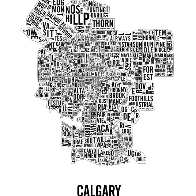Typographic City Map of Calgary Neighbourhoods