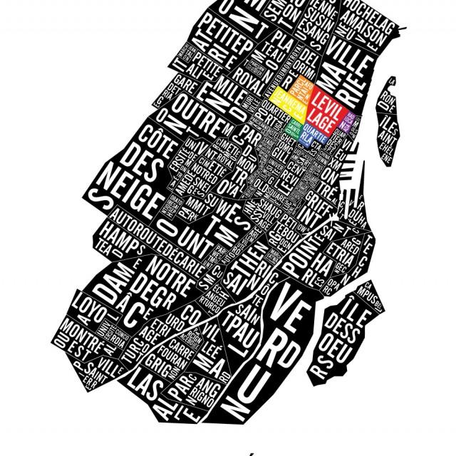 Typographic Map of Downtown Montreal Neighbourhoods & Landmarks