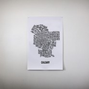 Typographic City Map of Calgary Neighbourhoods