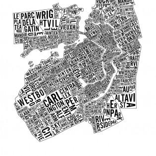 Affiche de la carte typographique des quartiers d