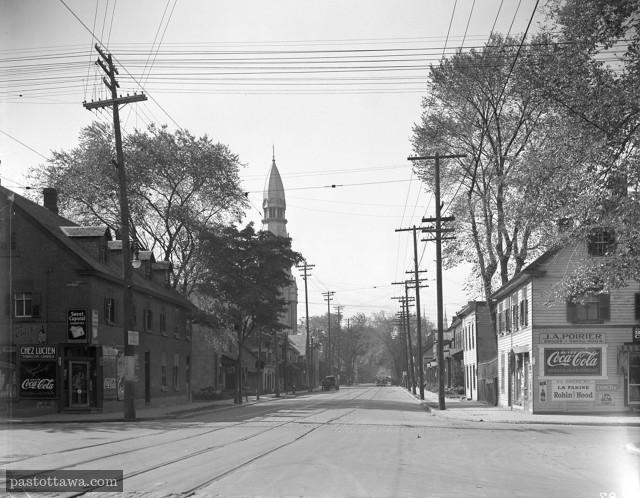 Église St-Brigid avec la rue St-Patrick et King-Edward en 1938
