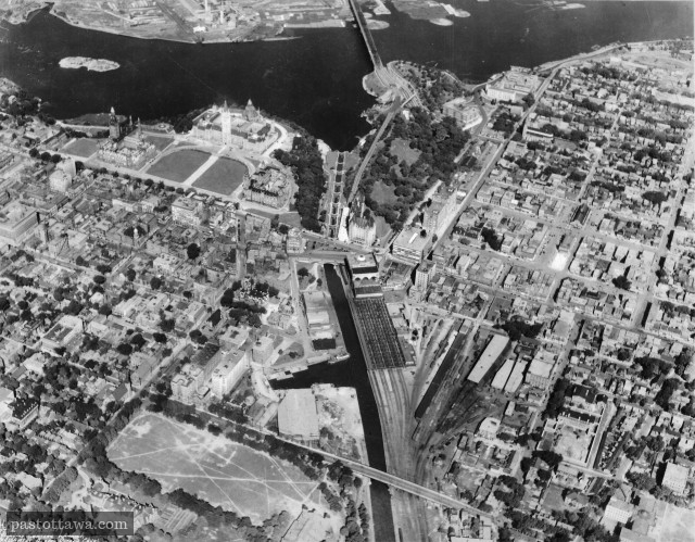 Aerial View of the Rideau Canal in Ottawa around 1920