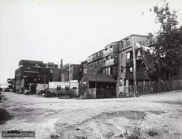 Back of former buildings on Wellington street in Ottawa in 1938