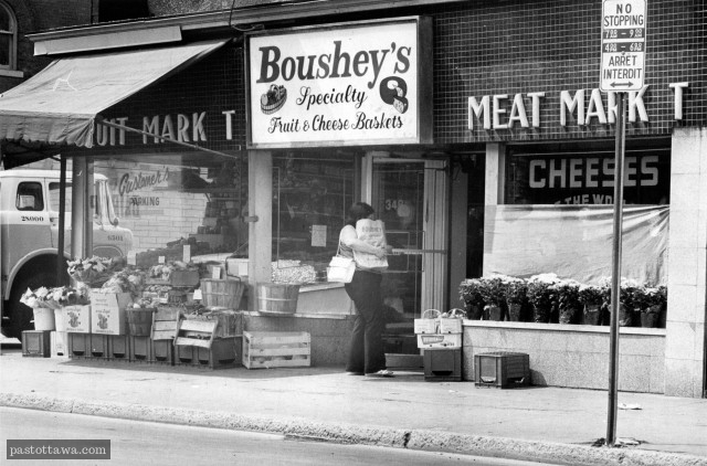 Boushey's corner store on Elgin Street in Ottawa around 1970.