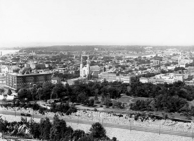 Vue du parc Major Hill de la tour de paix en 1910