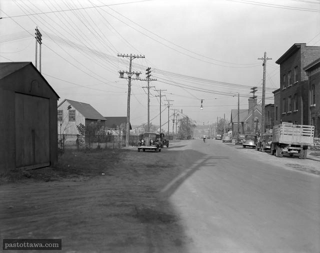 Rue Middle sur l'île Victoria à Ottawa en 1938