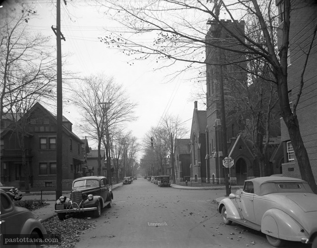 Gloucester Street at Metcalfe Street in Ottawa in 1938