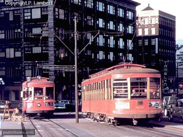 Tramway dans les rue d'Ottawa en 1959