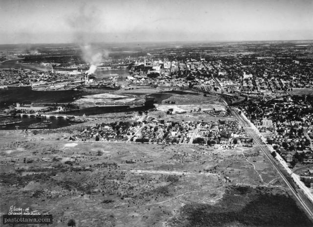Vue aérienne de Mechaniscville vers 1930.