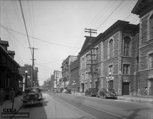 rue Queen vers l'ouest entre Metcalfe et O'Connor en 1938