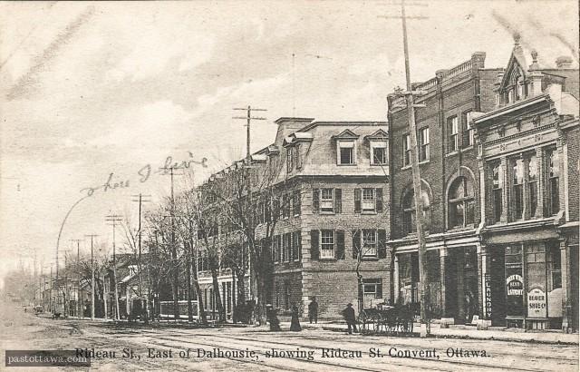 Rue Rideau et Waller avec le couvent vers 1900