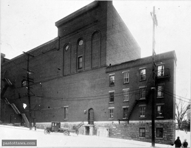 Rear view of the Russell Theatre on Queen and Canal