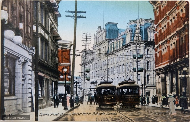 Sparks Street with its people, streetcars and the Russell House