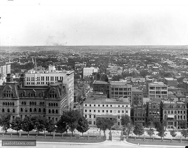 Topley Collection.  View of Wellington Street from The Peace Tower