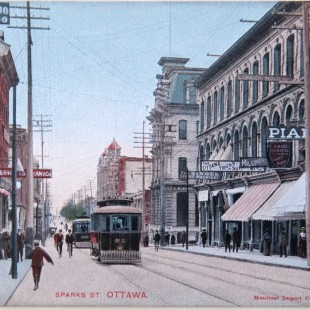 Sparks Street around 1900 when streetcars and people could be found.