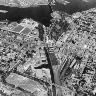 Vue aérienne du canal Rideau vers 1920 à Ottawa
