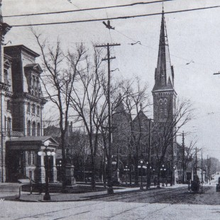 Elgin Street in Ottawa around 1920 with City Hall and Knox Church
