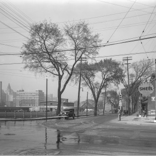 Laurier street at Nicholas street looking north-east in 1938
