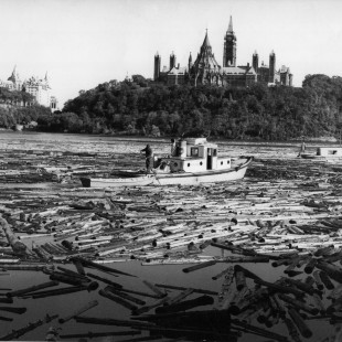 Picture behind the one dollar bill of Malak Karsh of the Ottawa River in 1963