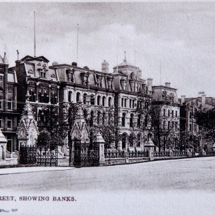 Bankers' row on Wellington Street in Ottawa around 1910