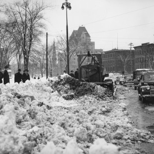 Snowed up Elgin Street in Ottawa around 1945