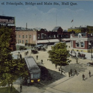 Former square at du Pont and Main street Intersection