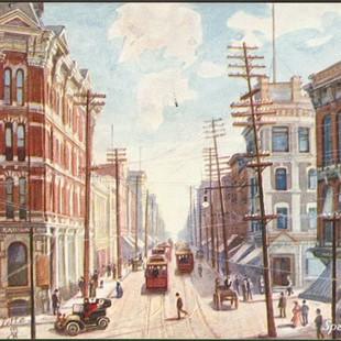 Representation de la rue Sparks vers 1902 vue de l'ancienne Maison Russell.