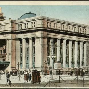 carte postale de la gare Union à Ottawa en 1920