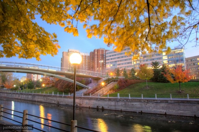 Corktown Footbridge with the Rideau Canal.