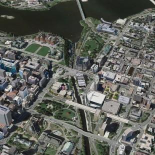 Vue aérienne du canal Rideau vers 2014 à Ottawa