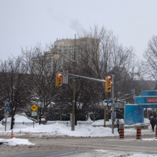 Former intersection of Elgin Street and Laurier Avenue in Ottawa en 2015