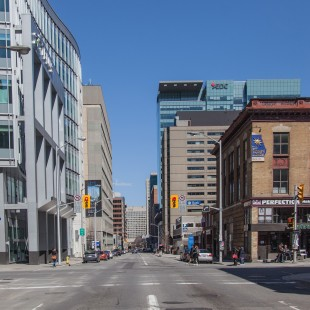 Slater Street with the Telus building and the Starbucks in Ottawa in 2013