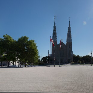 Looking toward the Notre-Dame Basilica from a former segment of Mackenzie avenue.